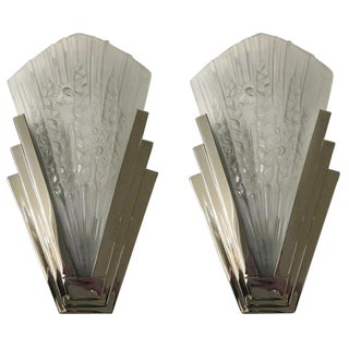 French Art Deco Skyscraper Floral Sconces - a Pair For Sale