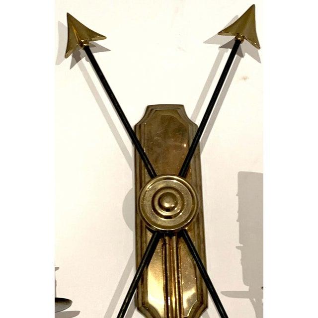 Metal Maison Jansen Bronze Arrow Sconces, France - a Pair For Sale - Image 7 of 8