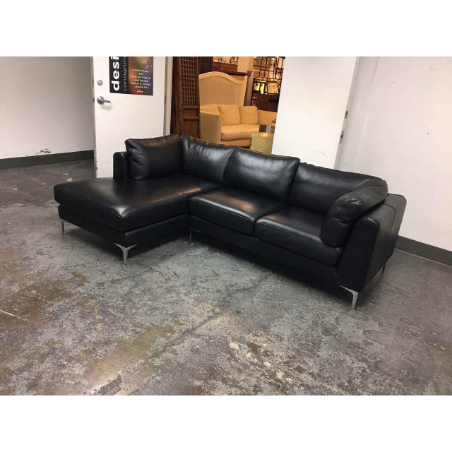 Design Within Reach Albert Black Leather Sectional Chairish