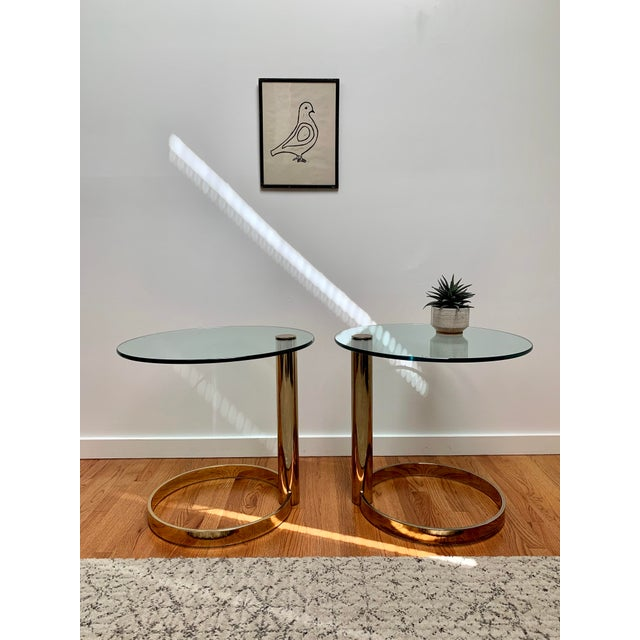Contemporary 1980s Contemporary Pace Brass and Glass Round Drinks Tables - a Pair For Sale - Image 3 of 13