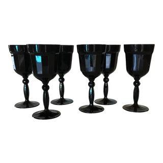 Black Florentine Wine Goblets - Set of 6 For Sale