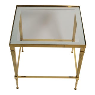 Hollywood Regency Small Brass Side Table For Sale