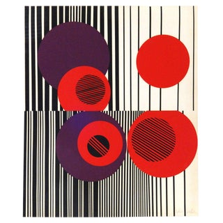 Vibrant 1970's Abstract Lithograph For Sale