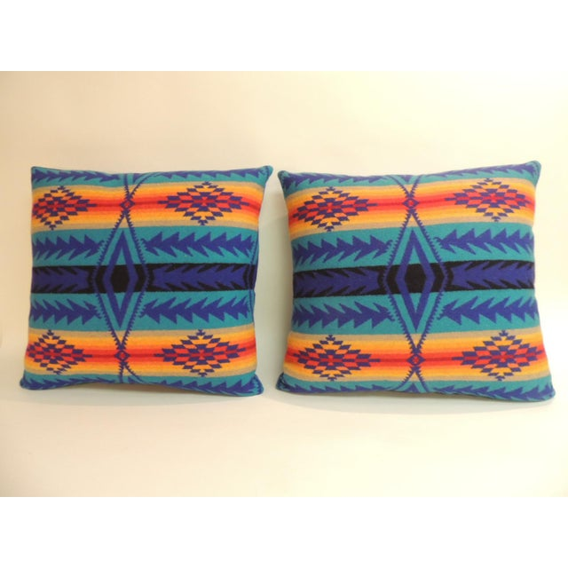 Pair of Vintage Pendleton Southwest Style Large Decorative Pillows For Sale In Miami - Image 6 of 6