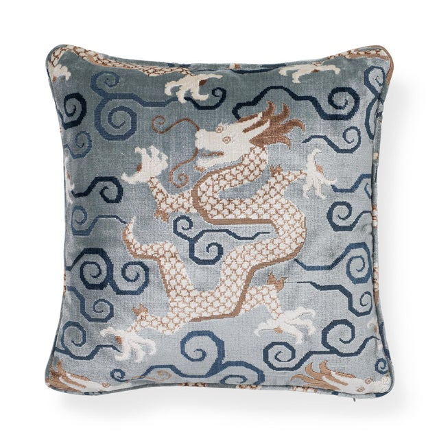 "Schumacher Chinoiserie Schumacher Bixi Velvet Celestine Two-Sided Pillow - 18""x18"" For Sale - Image 4 of 6"