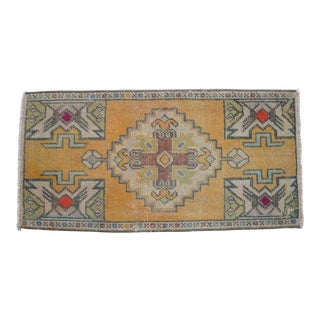 Distressed Low Pile Turkish Yastik Petite Rug Hand Knotted Faded Mat - 1'7'' X 3' For Sale