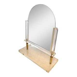 Vintage Charles Hollis Jones Style Lucite and Brass Lucite Tabletop Mirror For Sale