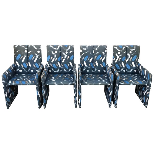 Set of Four Milo Baughman Postmodern Slab Side Dining Room Chairs For Sale - Image 13 of 13