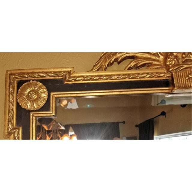 1970s Louis XVI Style Giltwood & Ebony Beveled Glass Mirror For Sale - Image 5 of 8