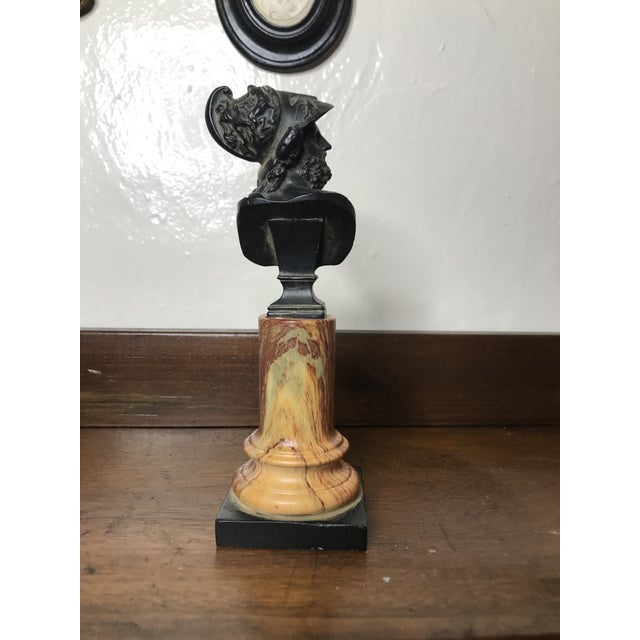 20th Century Grand Tour Tall Marbleized Column With Roman Warrior Bust For Sale In Los Angeles - Image 6 of 12