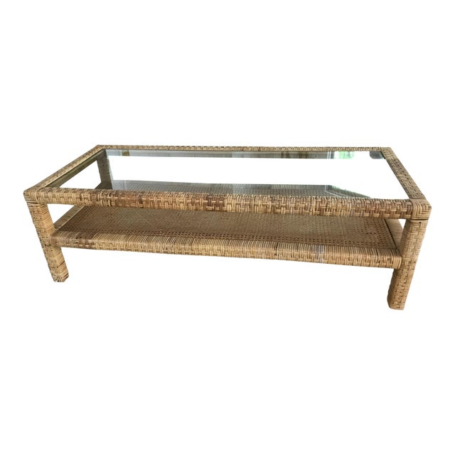 Rattan Wrapped Glass Top Coffee Table For Sale