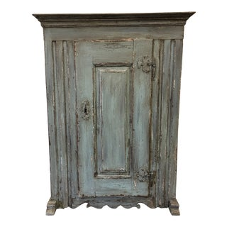 18th C French Antique Painted Cabinet Kitchen Cupboard For Sale
