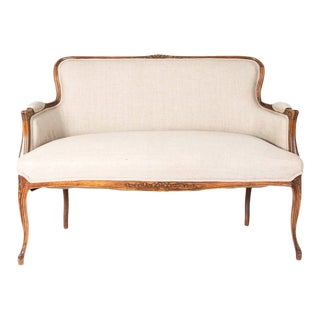 Antique French Walnut Settee Circa 1900 For Sale