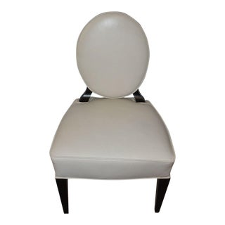 Barbara Barry Realized by Henredon Oval Cream Leather Side Chair