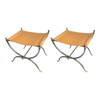 Maison Charles Pair of Bronze, Steel and Leather Folding Pure Pair of Stools For Sale