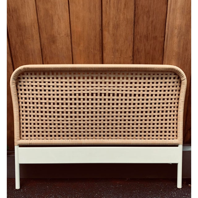 Vintage Boho Chic Full Size Woven Cane Headboard For Sale In New York - Image 6 of 7