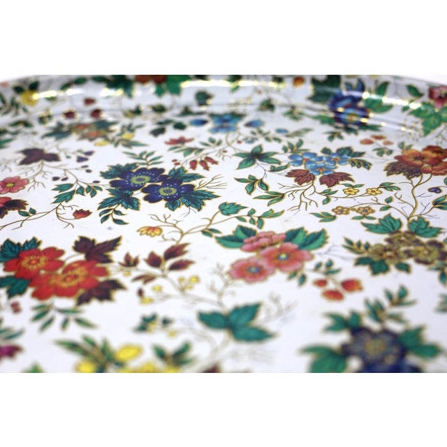 Vintage Chintz Floral Metal Tray by Daher For Sale In Tampa - Image 6 of 11