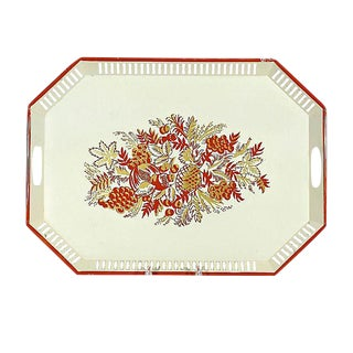 Fruit Painted Handled Serving Tray For Sale