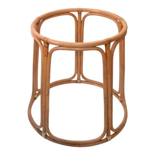 Boho Chic Mid-Century Modern Bamboo and Wicker Dining Table Base American 1970s For Sale