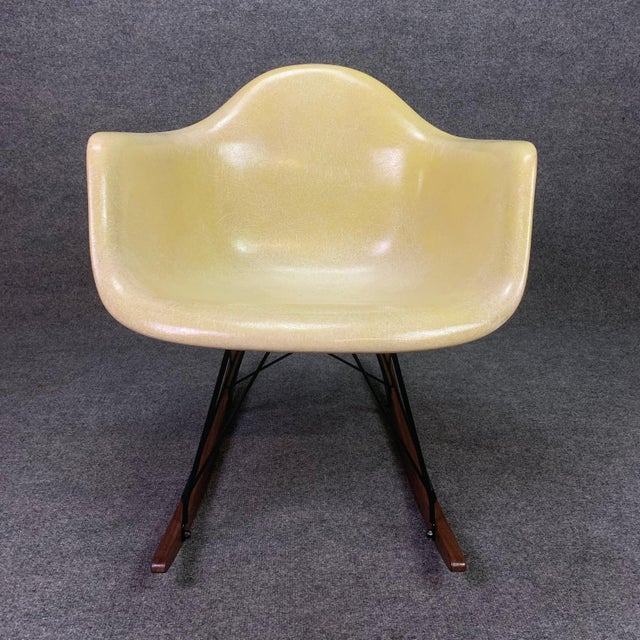 Vintage Mid Century Charles Eames Fiberglass Rocking Chair For Sale - Image 9 of 12