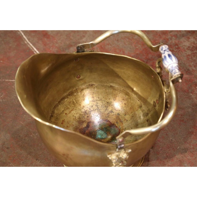 Metal Mid-19th Century French Brass, Bronze and Porcelain Coal Bucket For Sale - Image 7 of 12