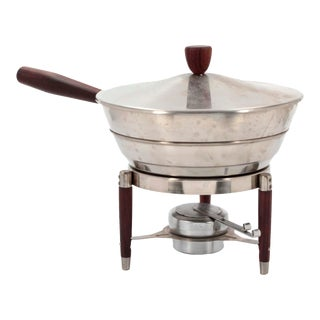 Mid-Century Stainless Steel & Walnut Royal Dolphin Chafing Dish For Sale