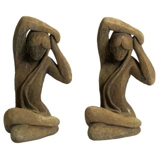 Pair of Vintage Cement Garden Statues of Ladies For Sale