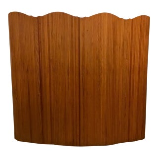 Unique Antique French Art Deco Oak Tambour Curved Screen For Sale