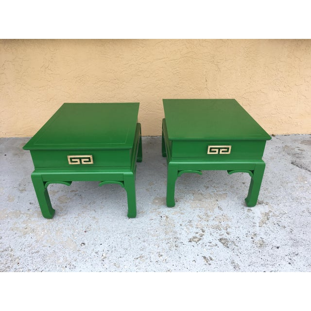 Asian/ Chinoiserie style side tables redone in high gloss kelly green. original hardware , with one drawer