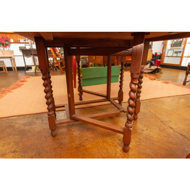 Oak 20th Century Traditional Oak Barley Twist Gate Leg Drop Leaf Table For Sale - Image 7 of 11