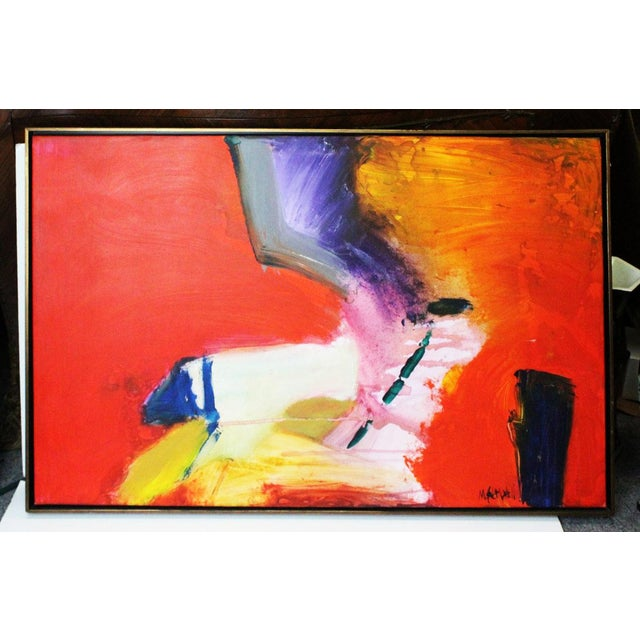 Blue Red Caldwell Abstract Scene Oil Painting For Sale - Image 8 of 8