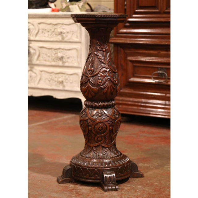 19th Century French Louis XIII Carved Walnut Pedestal Table From Normandy For Sale - Image 4 of 9