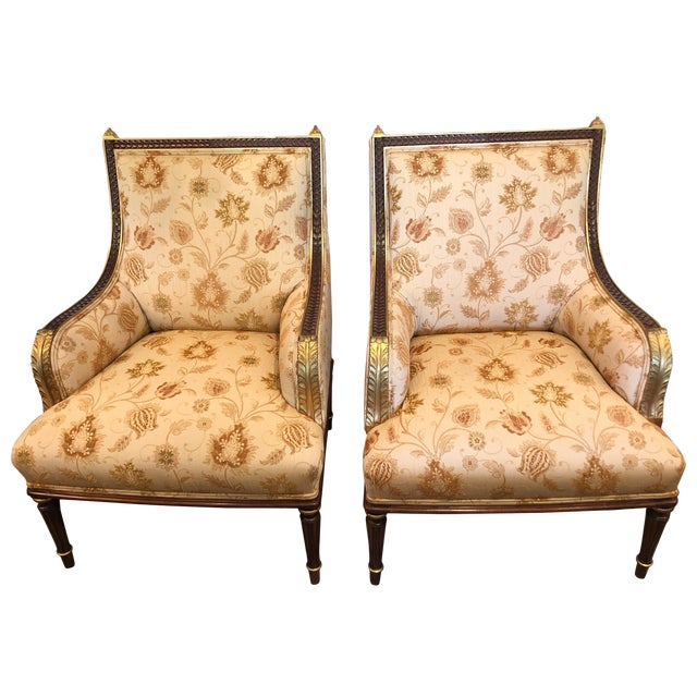 Lovely Pair of Carved Gilded Wood and Upholstered French Bergère For Sale