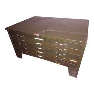 Vintage Metal Flat File Box