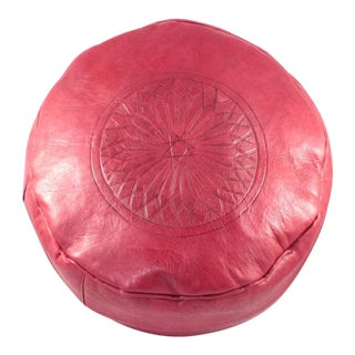 Modern Red Leather Moroccan Pouf Ottoman For Sale