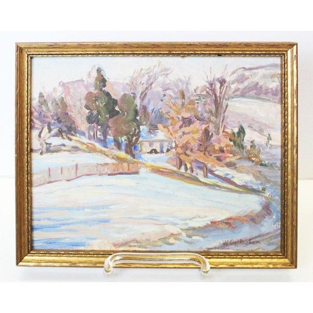 Paint Impressionist Winter Landscape Painting For Sale - Image 7 of 7