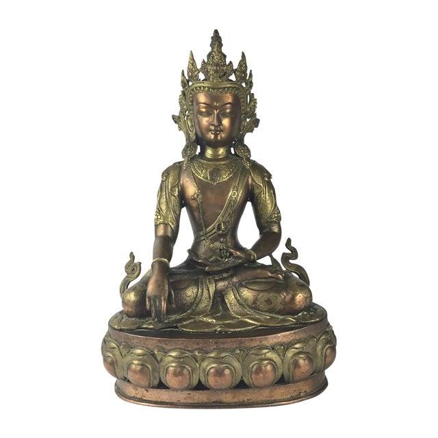 Vintage Tibetan Buddha Bronze-Cast Statue For Sale