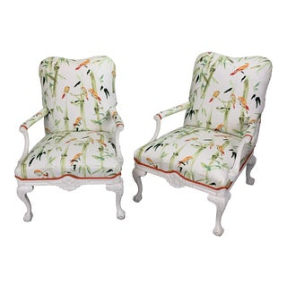 1990s Vintage Chinoiserie Chairs- A Pair For Sale