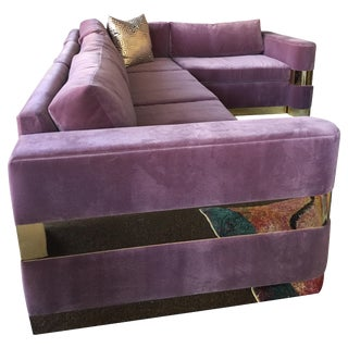 Custom Lavender Mohair and Brass Four-Piece Sectional From Hollywood Tv Series For Sale