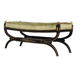 1950s Hollywood Regency Velvet Long Bench For Sale