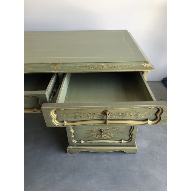 Custom made hand painted Chinoiserie desk. Made in the 2000s.