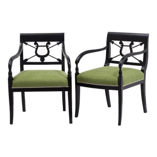 A Pair of Ebonised Birch Empire Upholstered Armchairs 1830 For Sale
