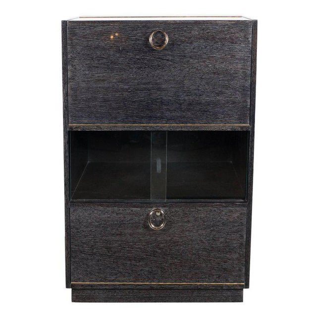Mid-Century Modern Silver Cerused Oak Dry Bar with Nickeled Pulls For Sale - Image 11 of 11