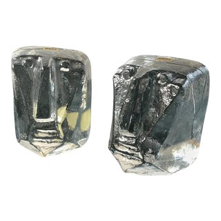 Pair of Glass Face Bookends by Erik Hoglund For Sale