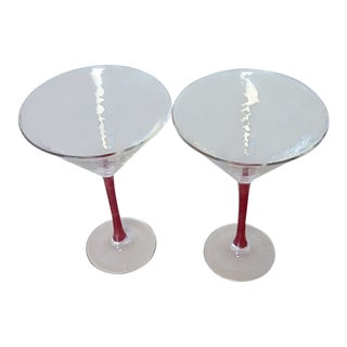 Vintage Red Stemmed Martini Glasses- a Pair For Sale