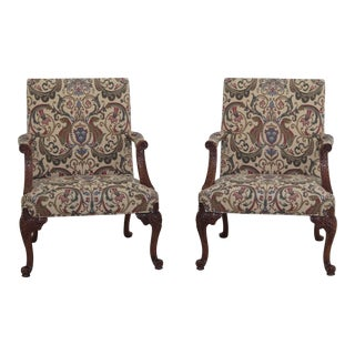 Modern Southwood Georgian Style Mahogany Tapestry Print Arm Chairs- A Pair For Sale