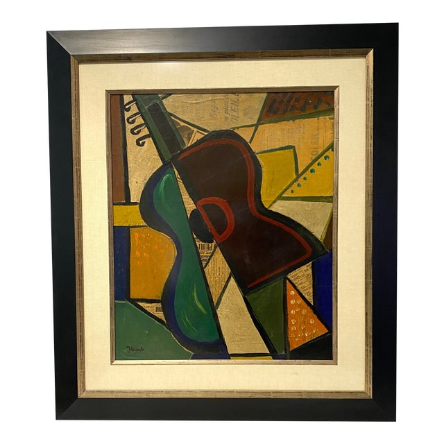 1956 Cubist Guitar J Lacoste Mixed Medium on Board Painting For Sale