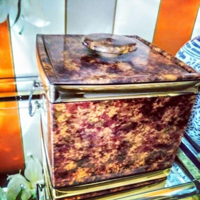Vintage Kraftware Faux Tortoiseshell Vinyl Square Ice Bucket For Sale In West Palm - Image 6 of 7