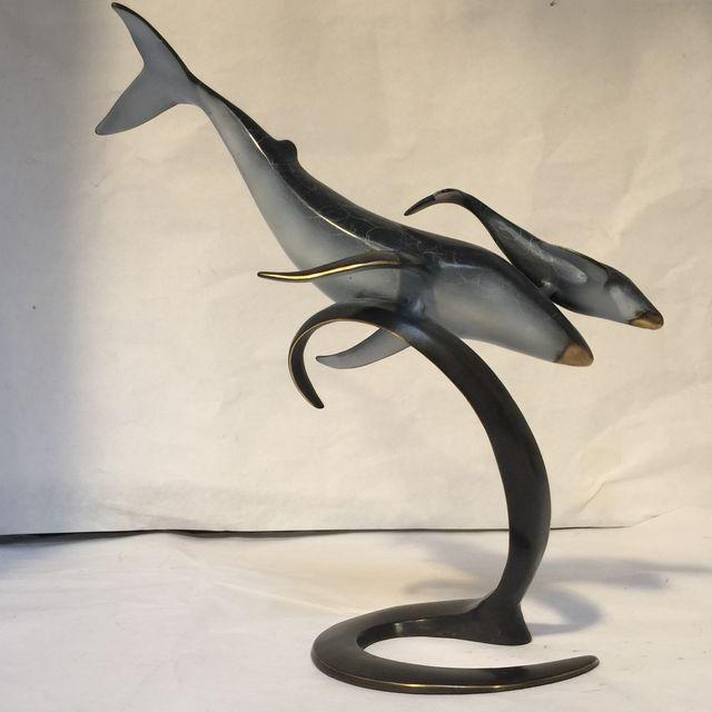 Momma & Baby Whale Bronze Sculpture For Sale - Image 9 of 11