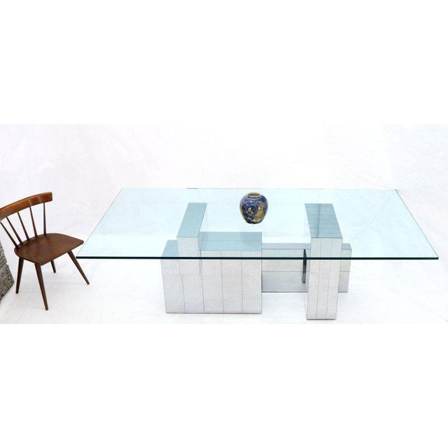 Paul Evans for Directional Large Chrome Glass Top Dining Conference Table For Sale - Image 12 of 13